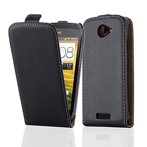 Cadorabo Hülle für HTC One S Hülle in KAVIAR Schwarz Handyhülle aus Glattem Kunstleder im Flip Design Case Cover Schutzhülle Etui Tasche Kaviar-Schwarz