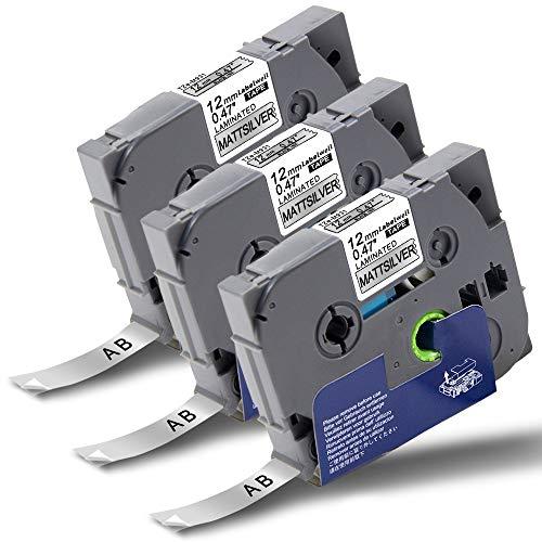 Labelwell P-Touch Tapes TZe-M931 12mm x 8m Black on Matt Silver Compatible for Brother TZeM931 TZ-M931 Laminated Label Cassette for Brother PT-1000 PT-H110 PT-H101C PT-H105 PT-2030VP PT-P750W PT-E100