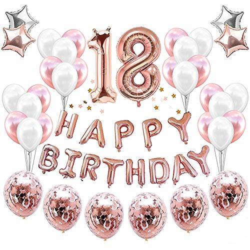 JeVenis 38 STÜCKE Rose Gold 18. Geburtstag Dekorationen Party Supplies Nummer 18 Geburtstag Luftballons Alles Gute zum Geburtstag Ballon Banner 18 Geburtstag Dekorationen für Sie (Ballons Geburtstag Zum)