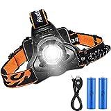 VicTsing Linterna Frontal LED,Alta Potencia 3000 Lúmenes Linterna Cabeza,Función de Zoom,4 Modos de Luz, Dura 6 HORAS y Hasta 300 Metros para Acampada,Pescar,Senderismo,Lectura, Luz de Emergencia