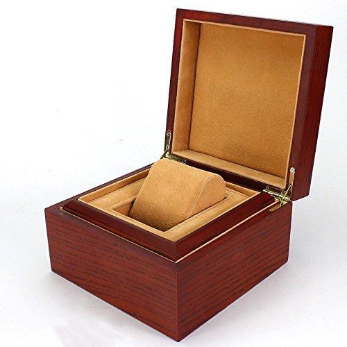 Faux-leder-wein (Uhrenbox 1 Uhr Bit Aufbewahrungsbox High-End-Holz Schmuckschatulle High-End-Geschenke aus Holz Wein rot Sprühfarbe Box)