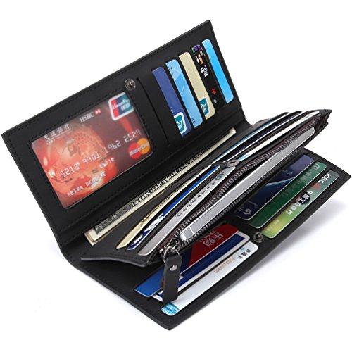 Bogesi-Herren Secretary lang Brieftasche Mit Reißverschluss Münztasche Cluth Brieftasche Blau schwarz