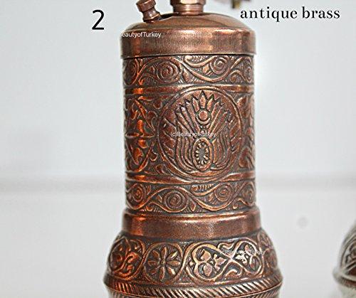 antik salzmühle, Salzmühle und Gewürzmühle, pfeffermühle, kaffeemühle, coffee grinder, pepper grinder (Antik messing) (Antike Kaffeemühle)