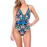 FuweiEncore Frauen Mädchen Badeanzug 1 Stück Sexy Schlankheits-Slim Floral Vintage Push up Bikini Kragen V Backless Monokini (Farbe : Blau, Größe : S)