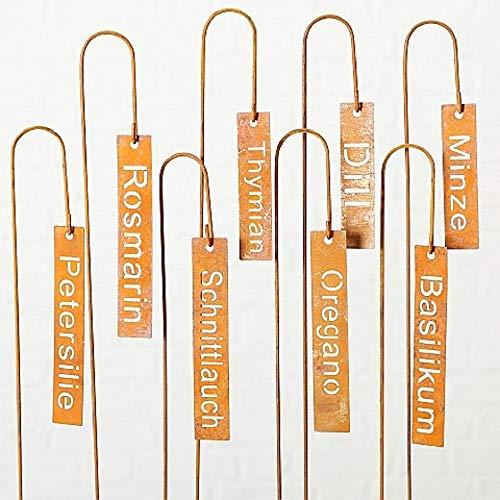 Home Collection Metall Gartenstecker Kräuter Gewürzstecker Pflanzenschilder 8er Set Sortiert rost Eisen