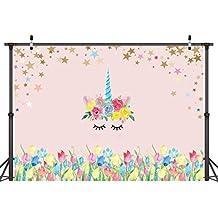 LYWYGG 7 x 5 Ft Fotografía Fondo Unicornio Cumpleaños Fiesta Foto Fondo Flores Rosas Lindo Estrellas