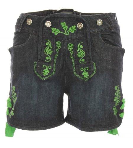 Jeans-Lederhose Stupsi in blau/grün von Almsach, Größe:34;Farbe:Blau