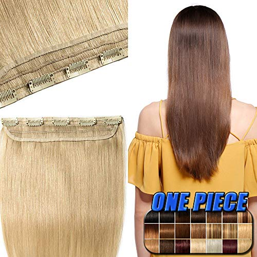 Clip in Extensions Echthaar günstig Haarverlängerung 1 Tessse 5 Clips Haarteile Echthaar Remy Human Hair 45cm-50g(#613 Hell-Lichtblond)