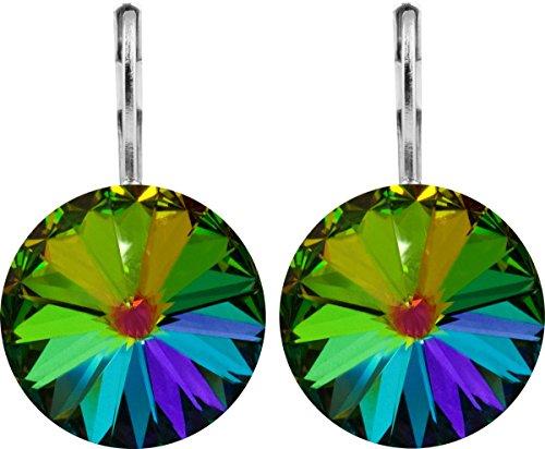 petra kupfer Damen Ohrringe Ohrhänger Rivoli 1 Swarovski®-Kristall 14 mm Grün Schimmernd Vitrail Medium Versilbert hk14tb-vitrail-medium