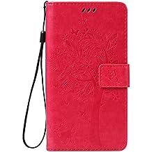Funda Sony Xperia Z5 Premium / Z5 Plus / Z5P Case , Ecoway Patrón de mariposa de gato en relieve PU Leather Cuero Suave Cover Con Flip Case TPU Gel Silicona,Cierre Magnético,Función de Soporte,Billetera con Tapa para Tarjetas ,Carcasa Para Sony Xperia Z5 Premium / Z5 Plus / Z5P - Rose Red