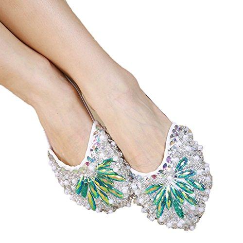 Calcifer® Marke New Bauch/Ballet Dance Schuhe Kostüm Geschenk für Big Party Weihnachten, grün, M
