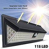 Solar-Wandleuchte, 118 LEDs, super hell, Sport Solar-Sicherheitslicht, Upgrade 120° Weitwinkel-Sensorkopf, wasserdicht, hitzebeständig, Garten, Garage, Spur, Weg