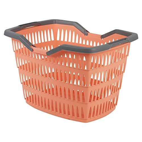 30Liter Wäschekorb mit klappbaren Griffen, Wäschekorb aus Kunststoff, groß pfirsich