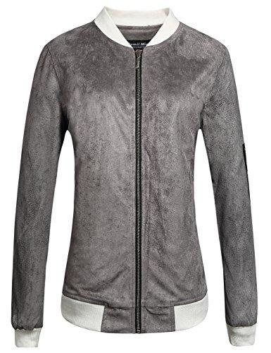 Camii Mia Damen Jacke Wildleder Bomberjacke Reißverschluss Übergangsjacke Stehkragen Outwear Casual Kurz Coat (X-Large, Grau)