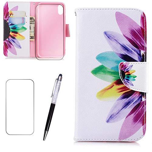 LaiXin LG k8 2016 Hülle Lederhülle Case PU Leder Flip Tasche Handy Schutzhülle Handyhülle mit [Ständer Funktion] Brieftasche+Displayschutz -Blumen Schmetterling