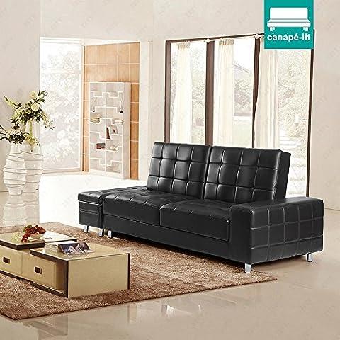 UEnjoy Canapé-lit avec espace stockage canapé convertible en PU cuir noir