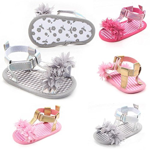 BZLine® Neugeborenes Baby Mädchen Blume Sandalen Krippe Anti Slip Sandals Grau