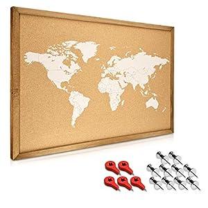 Navaris tablero para notas de corcho – Tablero con marco de madera de 70 x 50 CM – Planificador mapamundi con 15 chinchetas y set de montaje