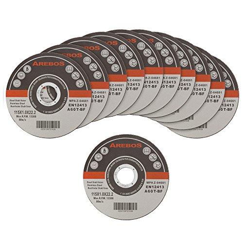 Arebos Trennscheiben für Metall INOX (115 x 1 mm, 100 Stück)/EN 12413/MPA Z-14000/16