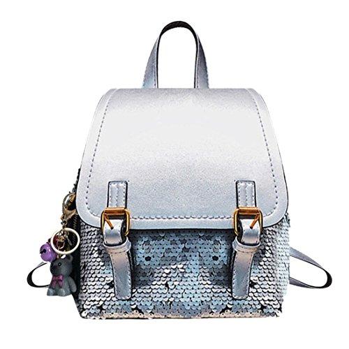SANFASHION Damen Mode Rucksack weibliche Bling Pailletten Patchwork Rucksack Schultasche