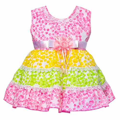 !!..Introductory Offer..!! Littly Baby Girl's Party Wear Little Petal Print Cotton Frock Dress With Panty (Pink, 18 Months-24 Months)  available at amazon for Rs.399