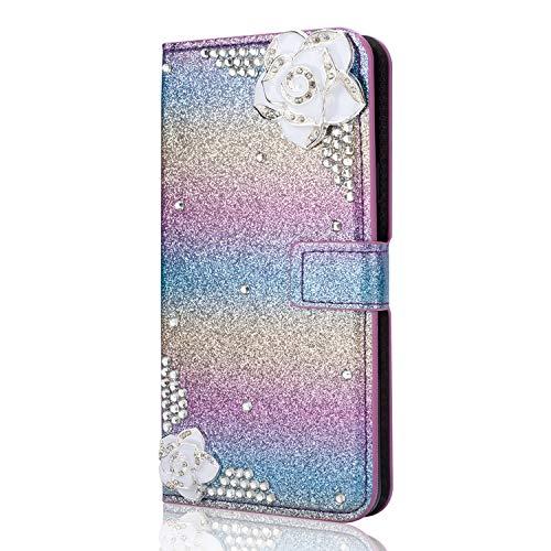 6City8Ni Ledertasche BookStyle Luxus Bling Glitzer Diamant Slim Leder Hülle Schutzhülle Scratch Bumper Flip Folio Wallet Stand Case Card Slots Pocket Shell Magnetverschluß Etui Case für Samsung S8