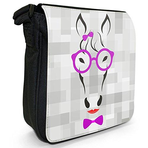 Hipster animali con fiocco, Occhiali e sacchetto di tela borsa a tracolla nero–taglia S Hipster Horse Wearing Lipstick