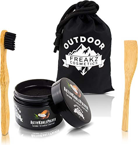 Premium Kokosnuss Aktivkohle Pulver 100% rein zur natürlichen Zahnaufhellung + Bambus Zahnbürste + Bambus Schaufel + Bambusbeutel -