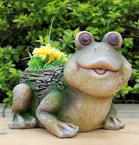 Design Frosch mit Blumentopf 36139 Zwerg Deko Garten Gartenzwerg Figuren Dekoration