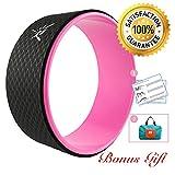 Rueda de Yoga IVIM-la rueda de Yoga más fuerte y cómoda para Dharma Yoga, accesorio para posturas de Yoga, rueda perfecta para estiramiento, aumenta la flexibilidad y mejora las flexiones hacia atrás, básica 33 x 12 cm, mujer, rosa, 33 X 13 cm