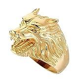 BOBIJOO Jewelry - Bague Chevalière Homme Tête de Loup Clan Force Animal Acier Inoxydable Doré Or - 56 (7 US), Acier inoxydable 316 - Doré or fin