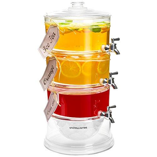 Dispensador de bebidas de 3 niveles, con compartimiento para hielo, Andrew James, con 3 nivelesde 3,5litros, niveles con grifos individuales para servir diferentes bebidas, compartimiento de 1,65 litros para hielo