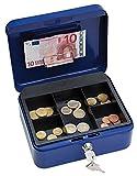 Wedo 145203H Geldkassette (aus pulverbeschichtetem Stahl, versenkbarer Griff, Geldnoten- und Belegeklammer, 5-Fächer-Münzeinsatz, Sicherheits-Zylinderschloss, 20 x 16 x 9 cm) blau