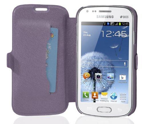 Preisvergleich Produktbild Cadorabo Hülle für Samsung Galaxy GRAND DUOS / GRAND NEO - Hülle in ICY FLIEDER – Handyhülle mit Standfunktion und Kartenfach im Ultra Slim Design - Case Cover Schutzhülle Etui Tasche Book