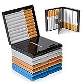 ToBeIT Zigarettenetuis schwarz aus Aluminium – leicht Metall Zigarettenbox Etui für 20 Stücke Zigaretten