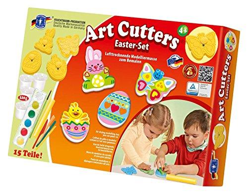 Feuchtmann Spielwaren 6285389 - Art Cutters Oster-Set 4 Relief-Ausstechförmchen mit Federmechanismus inkl. lufttrocknender Modelliermasse, Malfarbe und Zubehör