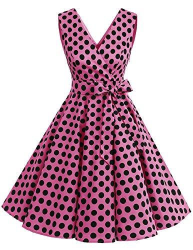 (Dresstells 1950er Vintage Retro Rockabilly Kleid Ärmellos Festliches Partykleid CocktailkleiderPink Black Dot S)