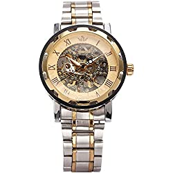 AMPM24 Transparent Dial Skeleton Hand-winding Mechanical Wrist Mens Sport Watch + AMPM24 Gift Box PMW223