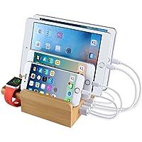 Upow estación de carga de Bambú con 5 puertos USB y un soporte de reloj, Organizador escritorio de multi-dispositivo muelle de carga Soporte para todos los iPhones, iPads, Nexus, Galaxy y otros teléfonos inteligentes y tabletas