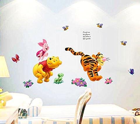 Zuolanyoulan Winnie the Pooh Muster Wandsticker Kinder Schlafzimmer Wandtattoos Wohnzimmer Dekorativen Entfernbare Wandaufkleber Raum Dekor Wall Sticker