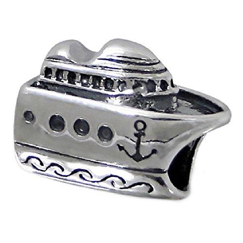 So chic gioielli© charm perla nave da crociera mare argento 925–compatibile pandora, trollbeads, chamilia, biagi