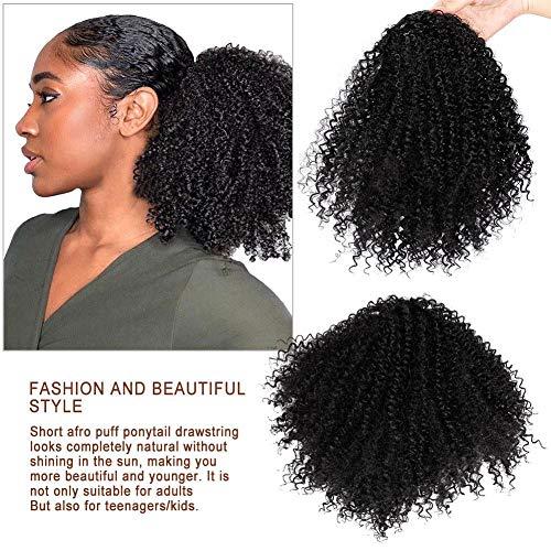 Kopfbedeckung der Perücke Lockige Kopfbedeckung gefälschte Haar Perücke Schwanz Afro Kinky Perücke Haar schwarz kleine lockige Haare Tasche Locken Haar Raupe