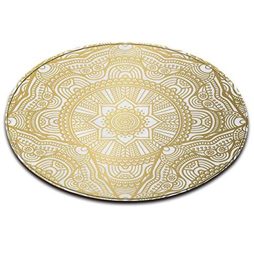 LB Alfombra de área Redonda, Blanco, Oro, Textura, patrón de Mandala Sala de Estar Dormitorio Baño Cocina Alfombra Suave Alfombra de Piso decoración del hogar, 120x120 CM