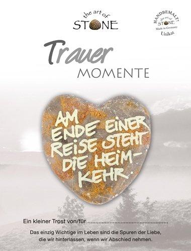The Art of Stone Trauer Momente Marmorsteinherz Am Ende Einer Reise Steht die Heimkehr Unikat - Hand beschriftet Trauerbegleiter Trost Grabbeigabe