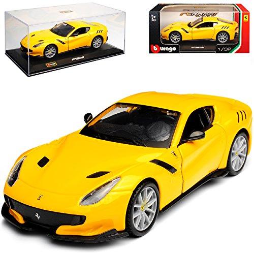 Bburago Ferrari F12 TDF Coupe Gelb 2012-2017 mit Sockel und Vitrine 1/32 Modell Auto