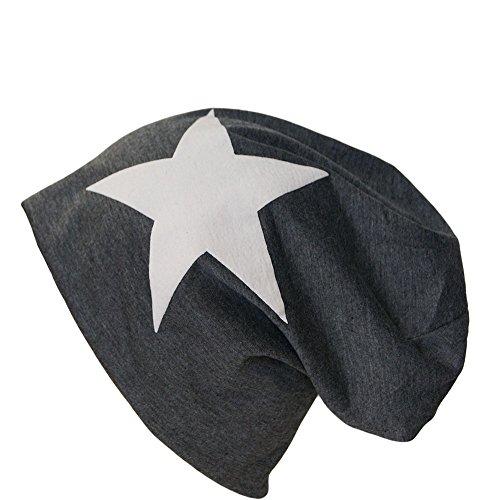 Jersey Baumwolle Long Slouch Beanie Unisex Mütze Unifarben und mit Stern Frühling Sommer (Anthrazit Stern Weiss)