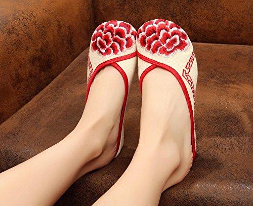 &QQ Chaussures brodées, semelle de tendon, style ethnique, flip flop féminin, mode, confortable, sandales Red