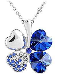 Le Premium® Vier Blatt Klee Halskette mit herzförmigen Swarovski Saphirblau kristalle