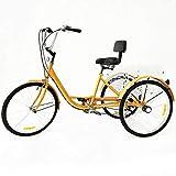 MOMOJA Triciclo Adulto 6 velocità 24 Pollici Bici a Tre Ruote Cruiser Trike Bici a Tre Ruote Cruiser Trike per Uomo Donna Anziani (Giallo Senza Luce)
