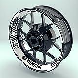 OneWheel Felgenaufkleber Yamaha Hexagon für Motorrad   17 Zoll   Komplett Set für Vorder- und Hinterreifen   Rim Sticker (Schwarz)